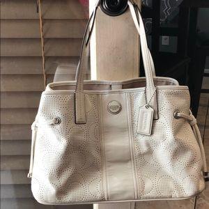 Coach Signature Stripe Perforated CarryAll purse
